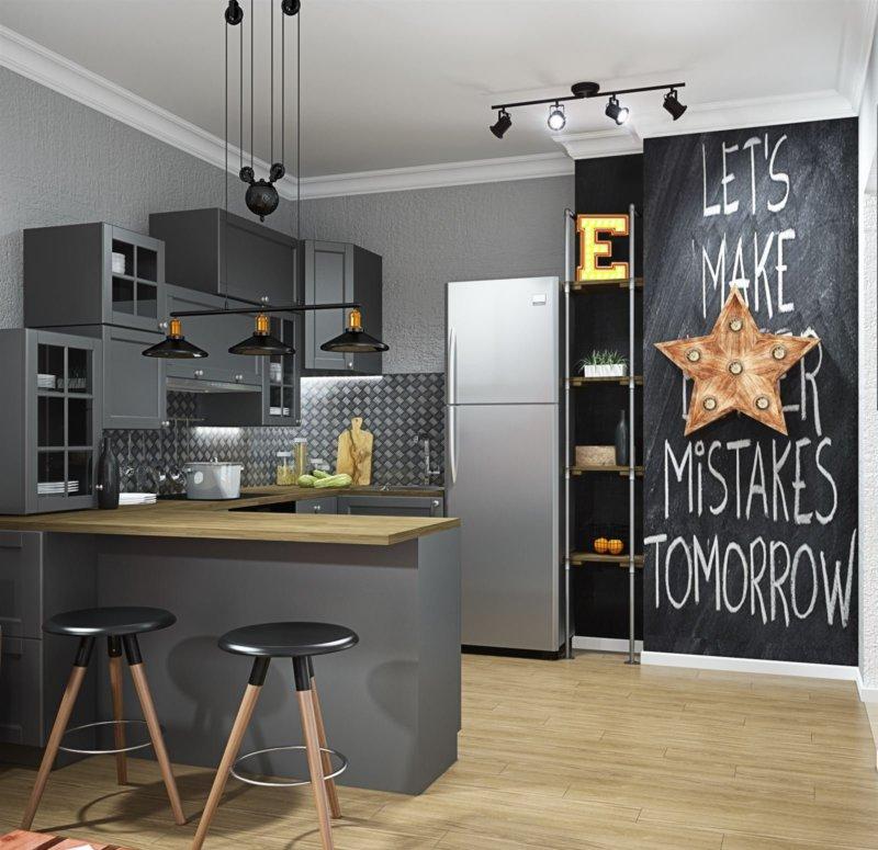 Дизайн квартиры евродвушки в стиле лофт
