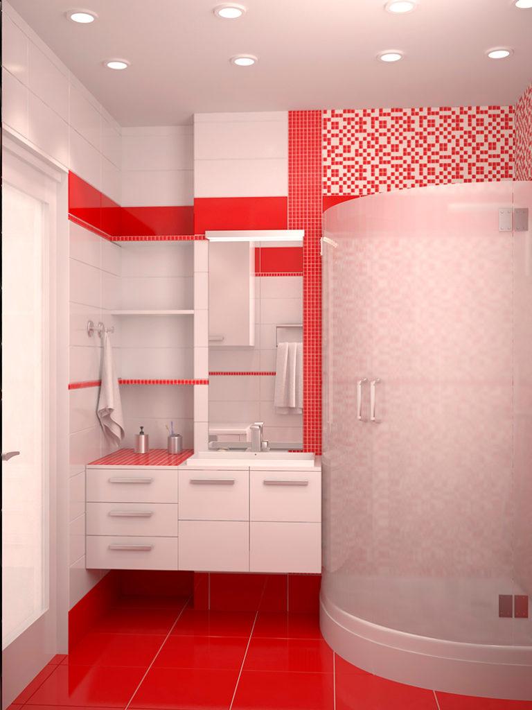 Интерьер ванной в красно-белом цвете фото