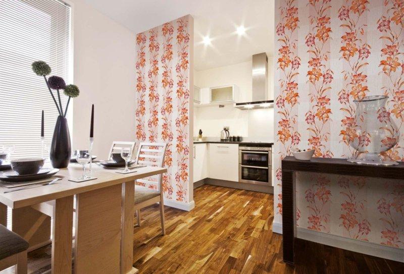 оформление кухни обоями двух цветов фото