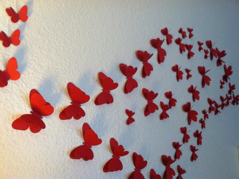 Бабочки на стене шаблоны 192