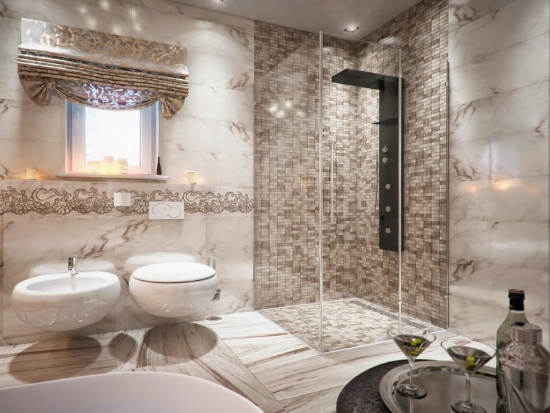 Белая ванная комната: дизайн с панно, кафелем и др 32