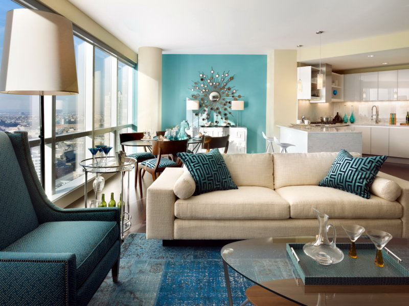 Turquoise living room furniture and curtains