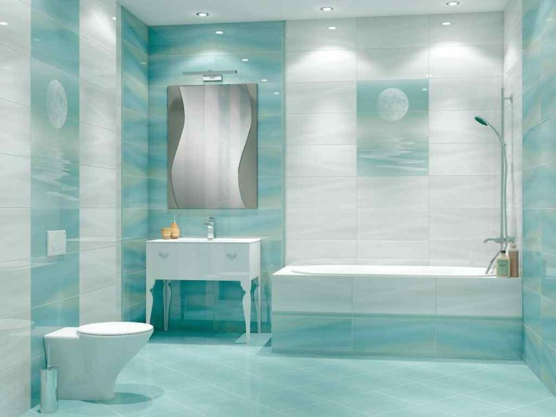 Ванная комната бирюзовых тонах Водяной полотенцесушитель Terminus М-образный с полкой 1  хром М полка 500*400