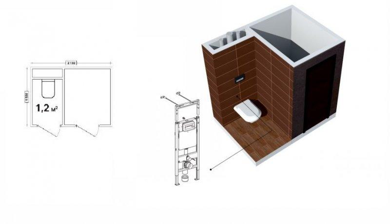 планировка маленького туалета