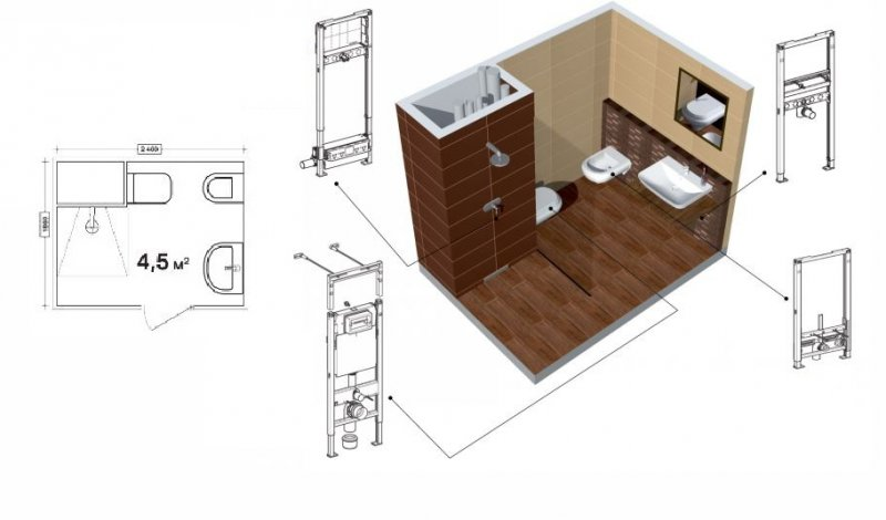 вариант планировки маленького туалета
