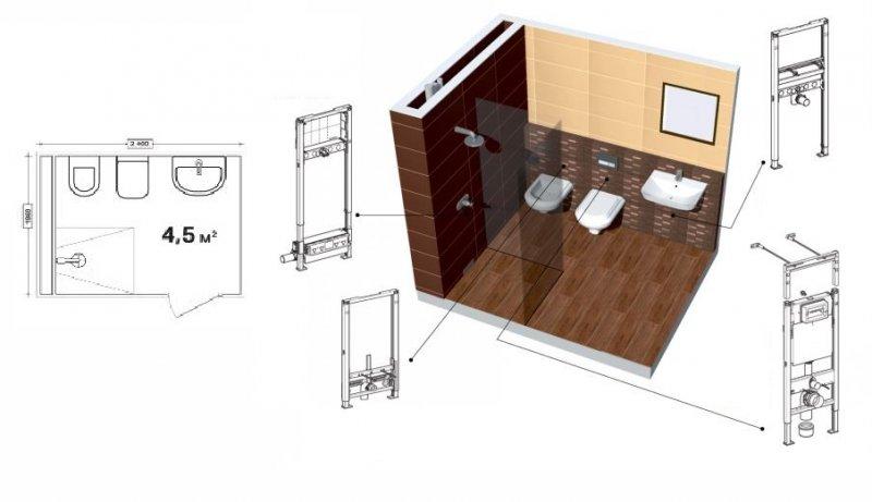 фото планировки маленького туалета