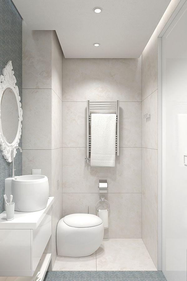 дизайн белого маленького туалета