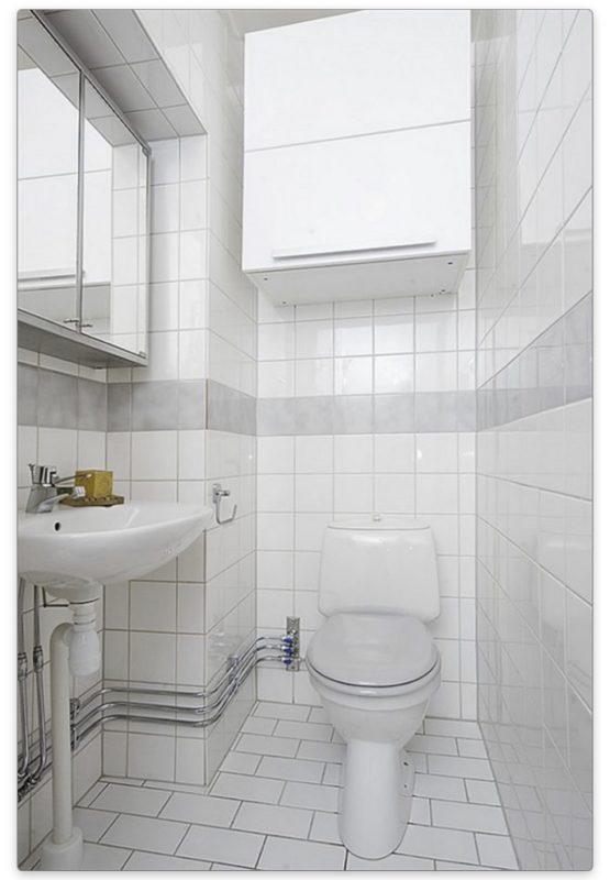 туалет в белом цвете малогабаритный