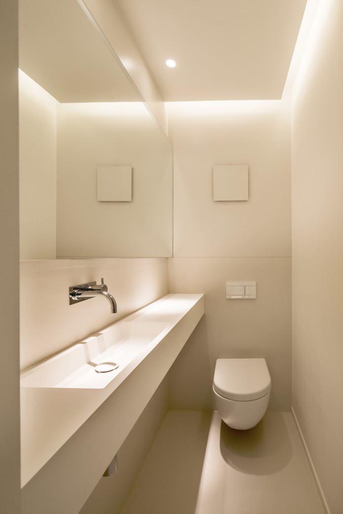 потолок гипсокартон в маленьком туалете