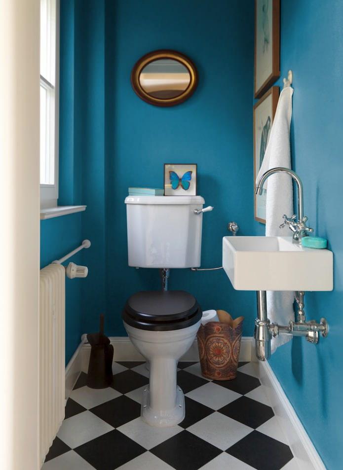 маленький туалет фото в голубом стиле