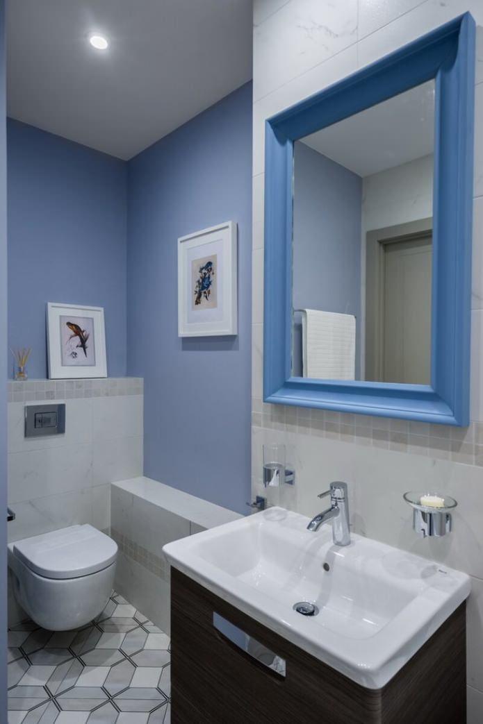 маленький туалет отделка краской