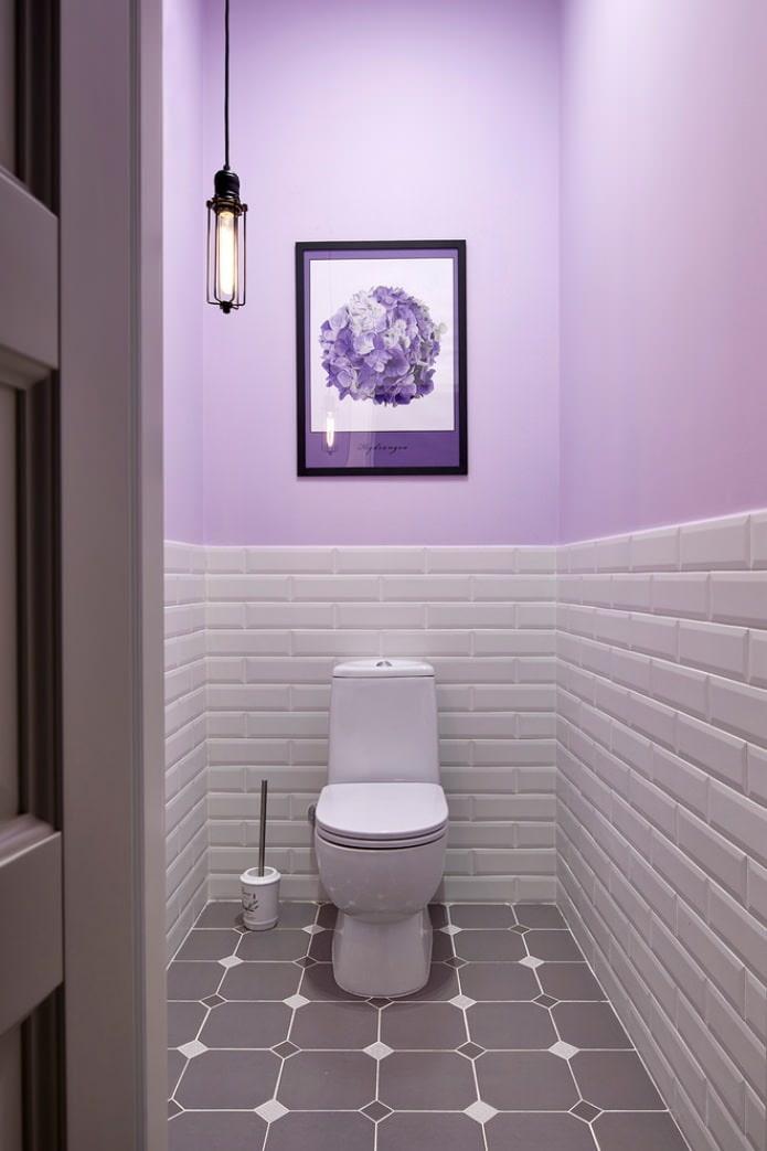 отделка краской маленького туалета фото