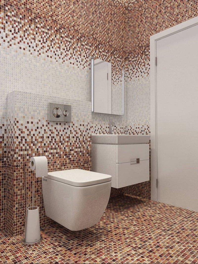 дизайн коричневого маленького туалета
