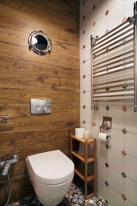 маленький туалет отделка стен ламинатом фото