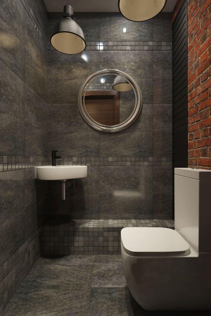 стиль лофт маленький туалет