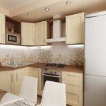 Красивый интерьер маленькой кухни.