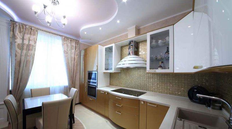 двухуровневые потолки на кухне.