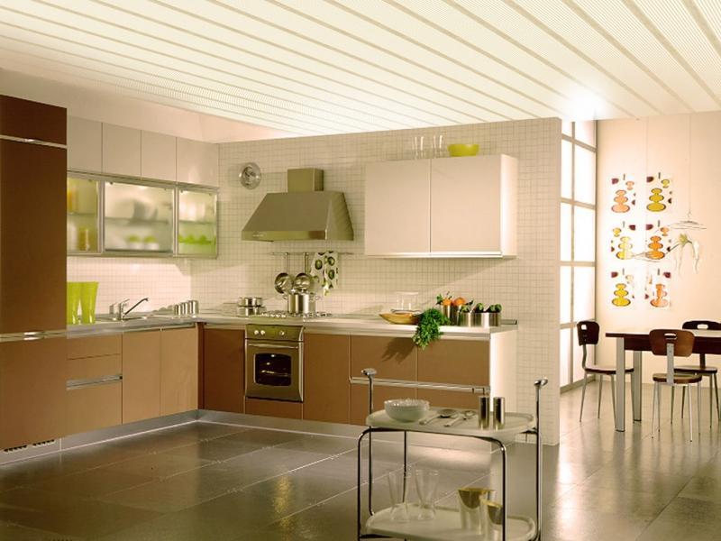 Вагонка на потолке кухни