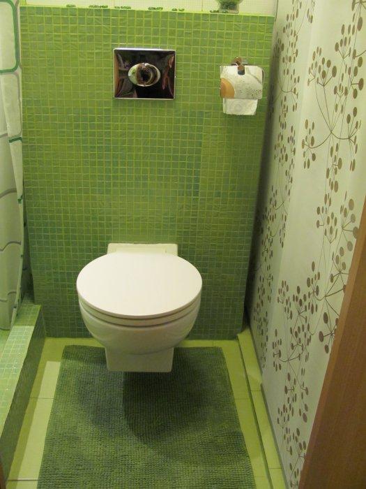 зеленый маленький туалет